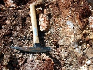 Kalcitna žila u kamenolomu Parčić nedaleko Drniša