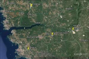 Geografski smještaj većine posjećenih kamenoloma